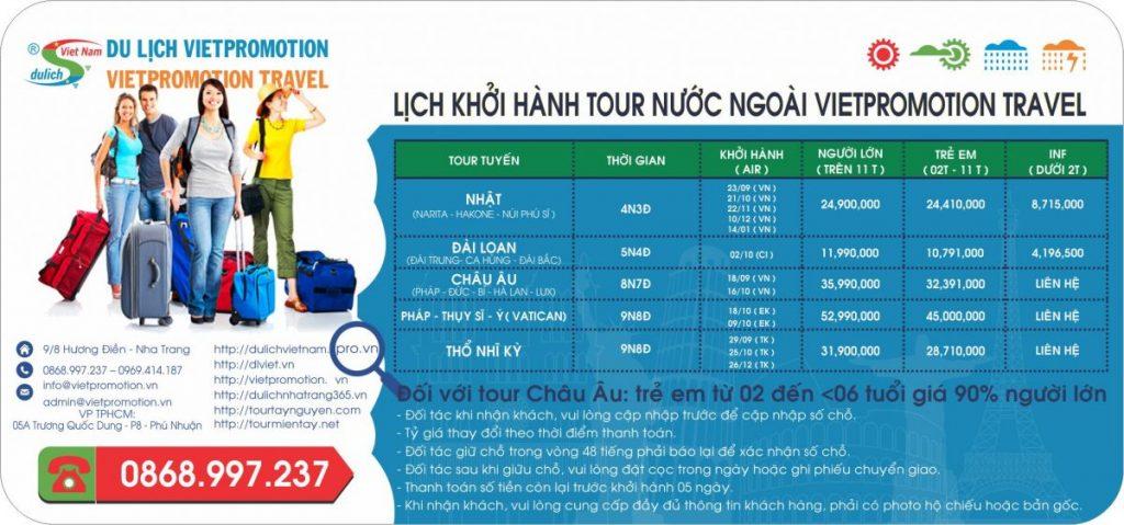 LỊCH KHỞI HÀNH TOUR NHẬT - ĐÀI LOAN- CHÂU ÂU